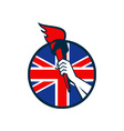 Hand Holding Flaming Torch British Flag vector image