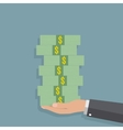 hand holding stack of cash vector image vector image