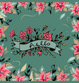 Hello lettering with ribbon hand drawn spring