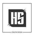 initial hs letter logo template design vector image vector image