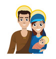 joseph and mary with baby jesus cartoon vector image vector image