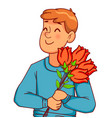 man cartoon characters with a bouquet of tulips vector image vector image