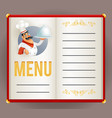 menu elite restaurant chef cook serving food 3d vector image vector image