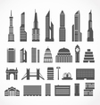 Modern city elements silhouettes collection vector image vector image
