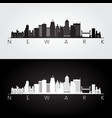 newark usa skyline and landmarks silhouette black vector image vector image
