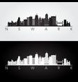 newark usa skyline and landmarks silhouette black vector image vector image