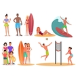 People and couples on active sport vacation beach vector image