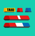 police taxi and ambulance car flasher set car vector image vector image