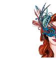 portrait pretty woman in luxury carnival mask vector image