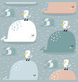 seamless pattern with whale and gull childish vector image vector image