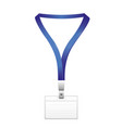 set of lanyard and badge metal piece plastic vector image