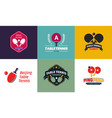 set of vintage color table tennis logos and badges vector image