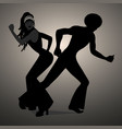 silhouettes of couple dancing soul funky or disco vector image
