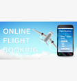 smartphone app online flight booking and airplane vector image