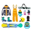 Snowboarding winter sports equipment set vector image