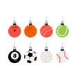 sport christmas balls set christmas set vector image vector image