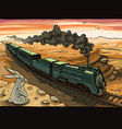 Steam Locomotive and Rabbit vector image vector image