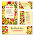 templates set for exotic fresh fruits shop vector image vector image