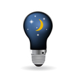 The light bulb with moon and night sky vector image
