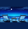 two chaise lounges on the beach at night vector image vector image