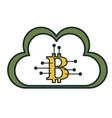 cloud computing with bitcoin symbol vector image