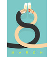 8 March Man and woman drinking champagne Glass of vector image vector image