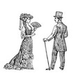 antique ladie and man victorian dame and vector image