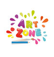 art zone colorful banner cartoon letters and vector image