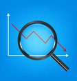 black magnify glass analysis falling stock graph vector image