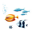 black white tropical fish coral reef fish vector image vector image