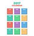 calendar 2017 flat design for a year vector image vector image