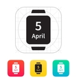 Calendar on smart watch icon vector image