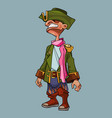 cartoon man in a cocked hat and pirate clothes vector image vector image