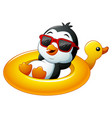 cartoon penguin relaxing on the inflatable duck vector image
