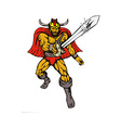 cartoon Viking super hero with sword vector image vector image