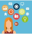 character woman social media icons vector image