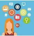 character woman social media icons vector image vector image