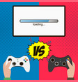 competition in the video game hands hold gamepad vector image vector image