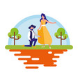 couple together near a tree vector image vector image