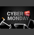 cyber monday sale banner with digital tablets on vector image vector image