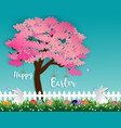easter eggs and rabbits in the garden with sakura vector image vector image