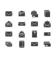 envelopes flat glyph icons mail message open vector image vector image