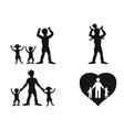 father with kids silhouette vector image