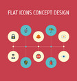 flat icons vision policeman lock and other vector image vector image
