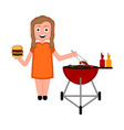 girl preparing a sausage on a barbecue grill vector image vector image
