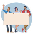 group people with empty banner vector image vector image