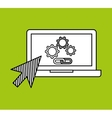 hand draw laptop gear link web social network vector image