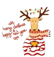 Hand drawn christmas deer wearing scarf vector image