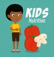 happy boy with nutrition food vector image vector image