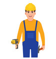 happy builder holding drill and hammer man in vector image